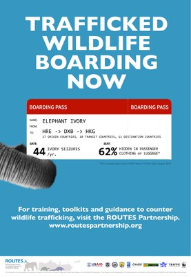 ROUTES Trafficked Wildlife Boarding Now Elephant Awareness Poster