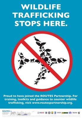 ROUTES Wildlife Trafficking Stops Here Awareness Poster